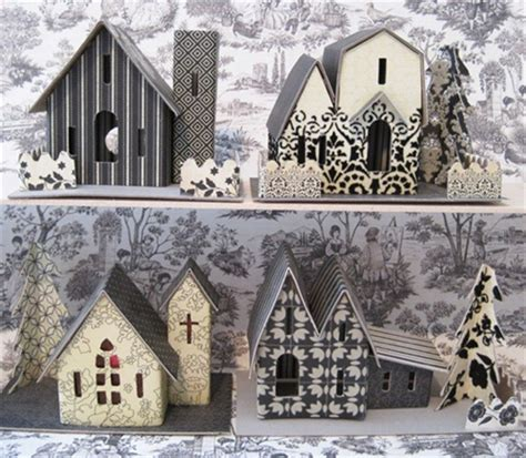 putz village kit assortment   houses  church  sand