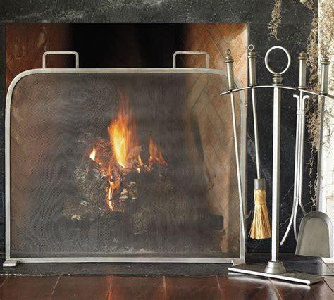 vintage pewter single screen fireplace screen