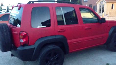 plasti dip jeep liberty matte red with black trim jeep liberty by dipyourwhip ca