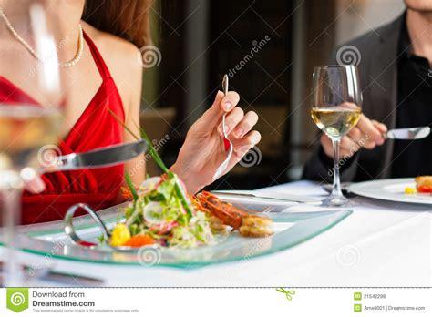 Couple Eating Dinner In Very Good Restaurant Royalty Free