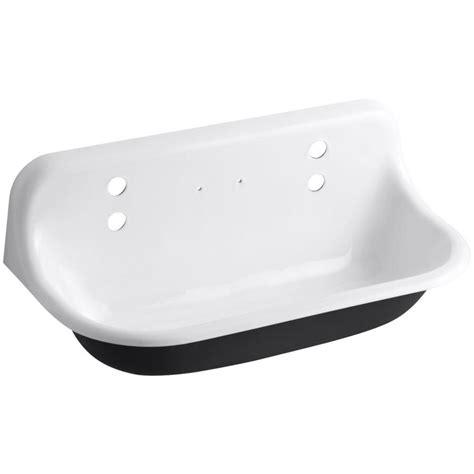lowes cast iron sink shop kohler 17 5 in x 36 in single basin white wall mount