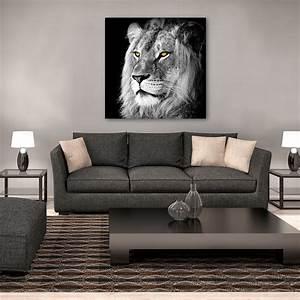 Tableau Lion Noir Et Blanc : toile imprim e lion noir blanc 90 x 90 cm 607900 achat vente tableau sur ~ Dallasstarsshop.com Idées de Décoration