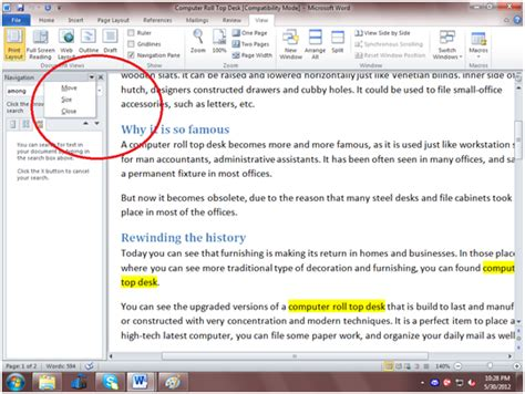 how to use navigation pane in microsoft word 2010
