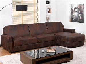 canape d39angle microfibre aspect cuir vieilli victory ii With tapis persan avec canapé club 2 places cuir