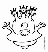 Coloring Alien Printable Aliens Eyes Template Under Pants Three Funny Cartoon sketch template