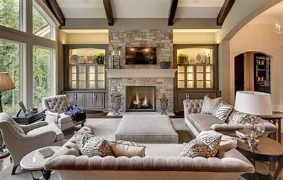 Rustic Stone Villa Fireplace Living Interior Desktop