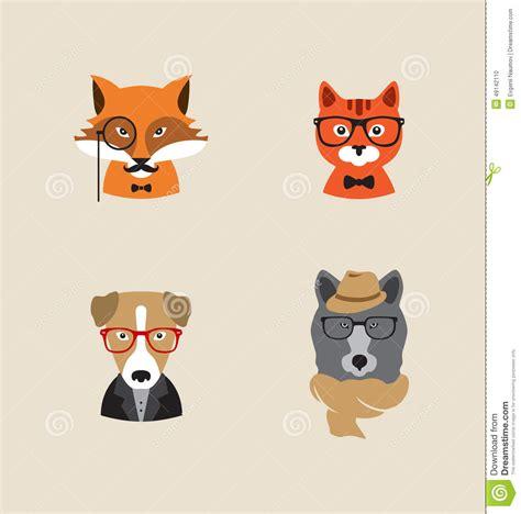 animals set of icons fox cat stock