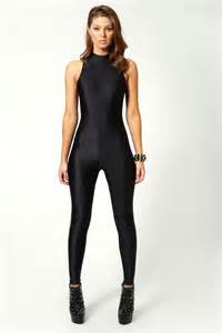 black cat suit boohoo jules high neck sleeveless disco catsuit in black