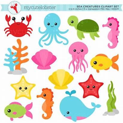Sea Animals Creatures Clipart Clip Fish Crab