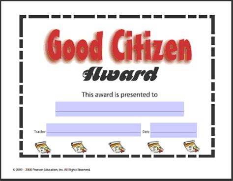 good citizen award certificate lessons worksheets