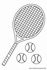 Tennis Coloring Ball Outline Sports Raquet Flashcard Racket Pages Flashcards Sport Printable Cliparts Clipart Getcoloringpages Clip Library sketch template