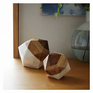 West, Elm, Marble, Wood, Object, Small, Octahedron, -, Decorative, Objects