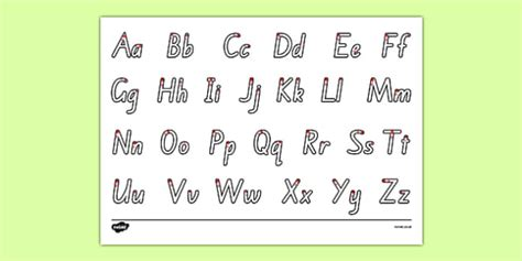 letter formation alphabet handwriting sheet