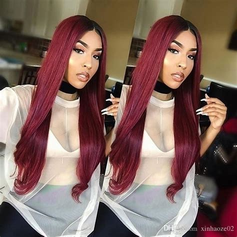 Hairstyles With Tracks Sewed In by 1bt99j Ombre Human Hair Lace Wig Burgundy