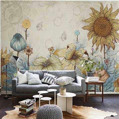 10 Living Room Designs With Wall Murals by Photo Wallpaper Flower Wall Murals 3d Custom
