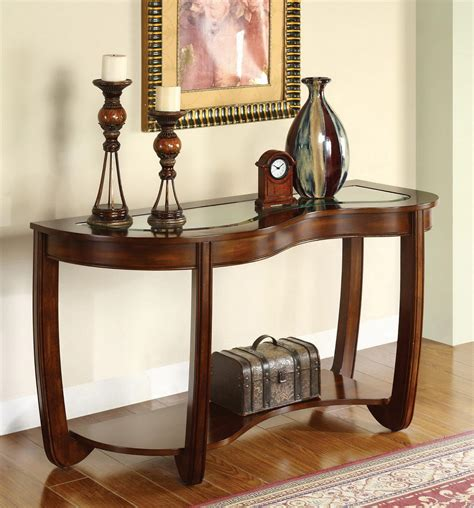cherry sofa table with glass top furniture of america kidnay glass top dark cherry sofa table