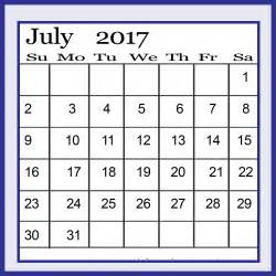 July 2017 Calendar Printable Portrait PDF