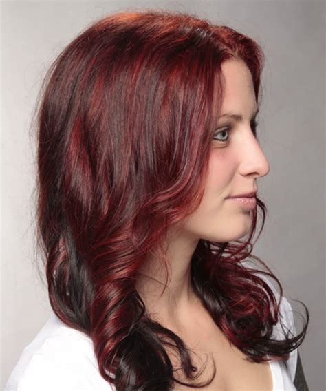 casual long wavy hairstyle red and dark brunette two
