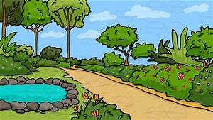 A Country Garden With Pond Background Cartoon Clipart ...