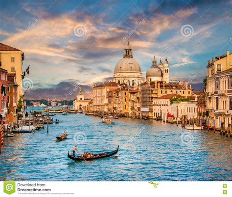 Canal Grande With Santa Maria Della Salute At Sunset