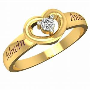 customized lovely heart gold name ring gold rings for With new wedding rings designs 2016