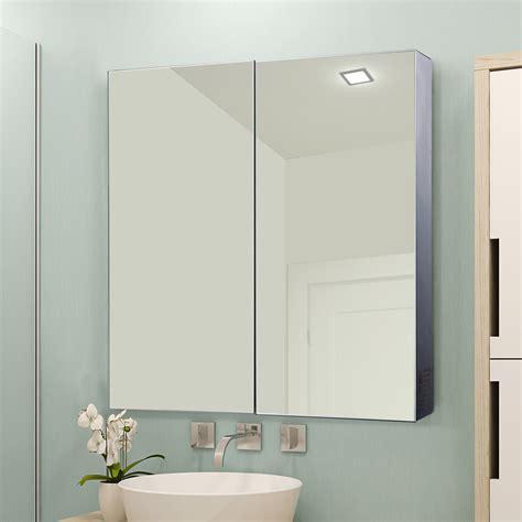 Badezimmer Spiegelschrank Edelstahl homcom spiegelschrank led badspiegel badschrank real