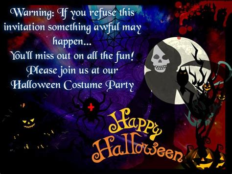 halloween costume party  ghastly invitations ecards