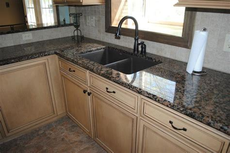 Pickled Oak Cabinets Kitchen by Baltic Brown Granite With Tile Backsplash Maple Cabinets