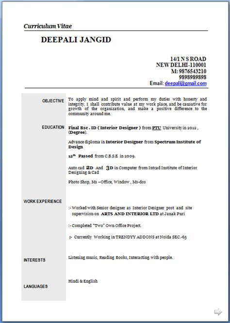 Unique Resume Formats For Freshers by Template Resume Word