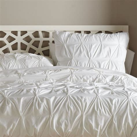 organic cotton pintuck duvet cover white contemporary