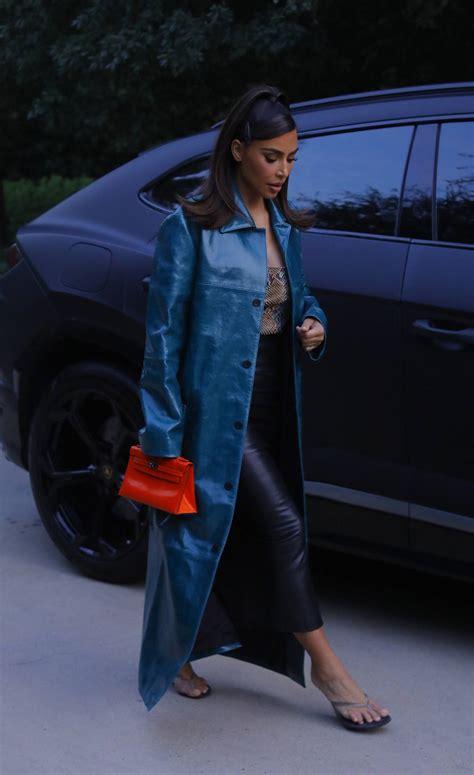Kim Kardashian Black Leather Midi Skirt Street Style ...
