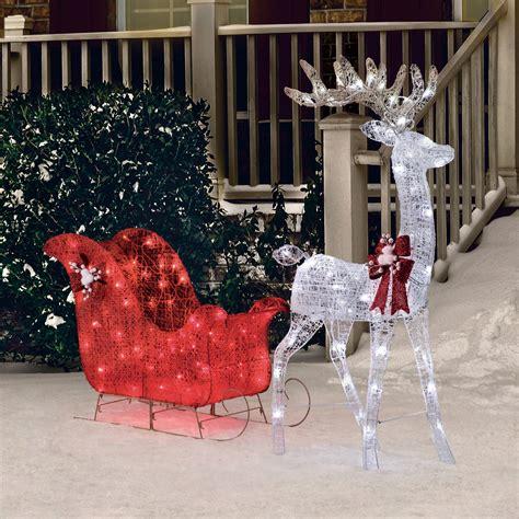 reindeer sleigh lawn decorations for christmas outdoor decoration pre lit deer 52 quot reindeer 40 quot sleigh sculpture ebay