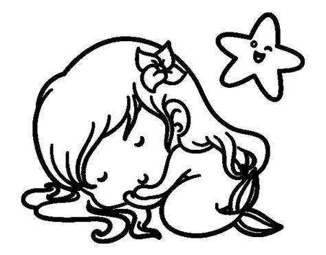 dibujo de sirenita chibi durmiendo  colorear dibujos de sirenas pinterest dibujo  chibi