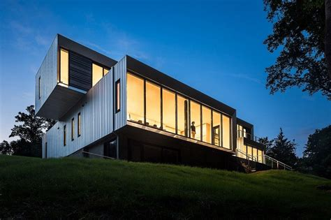 modern suburban house composed   volumetric elements