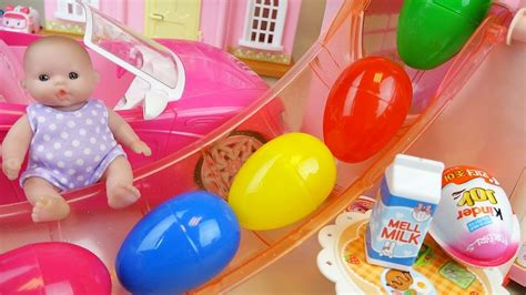 Surprise Eggs Slide Baby Doll House And Kinder Joy, Car...