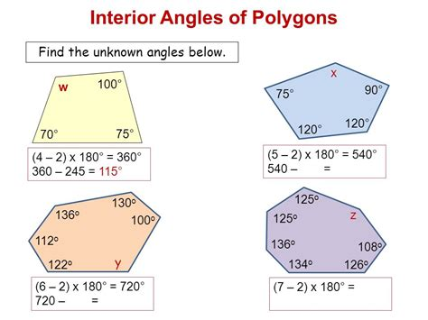 angles of polygons find the sum of the measures of the