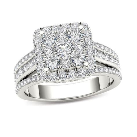 1 1 2 ct t w composite diamond cushion frame engagement ring in 14k white gold engagement
