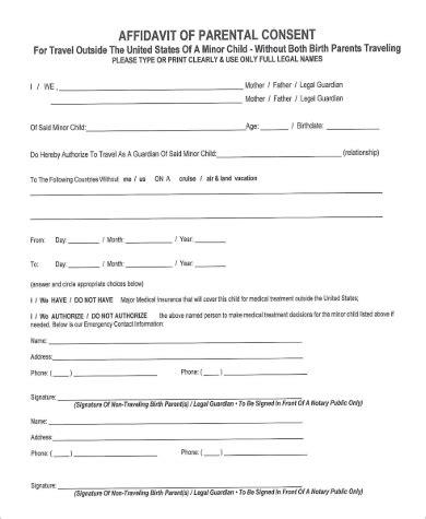 affidavit of consent form 9 sle parental consent forms sle templates