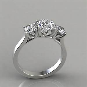 three stone cross prong round cut engagement ring With circular wedding rings