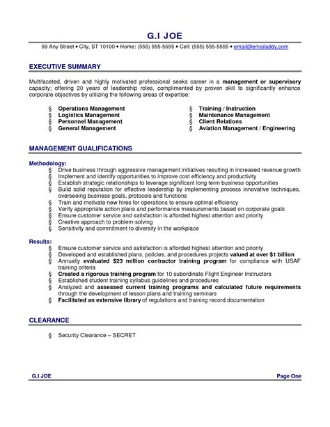 Executive Summary Resume Exles by How To Write A Executive Summary Resume Writing Resume