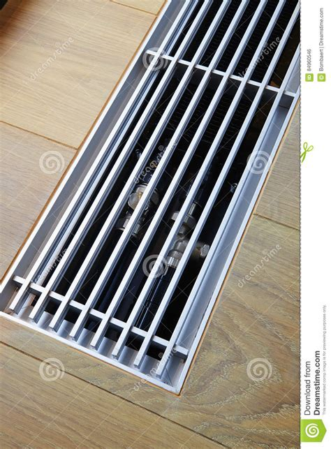 Sensortechnik Im Fussboden by Heating Grid With Ventilation By The Floor Stock Photo