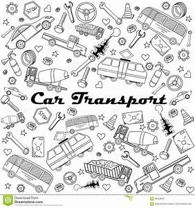 Car Transport Line Art Design Vector Illustration Stock ...