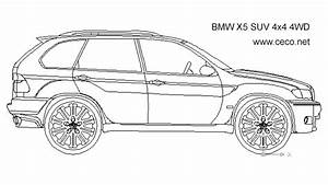 BMW X5 SUV 4x4 4WD - side block in vehicles cars Autocad ...