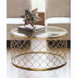 gable hollywood regency glass gold leaf round coffee table With gold glass coffee table set