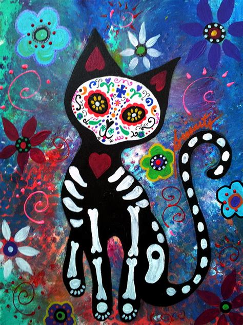 day of the dead cat painting by pristine cartera turkus