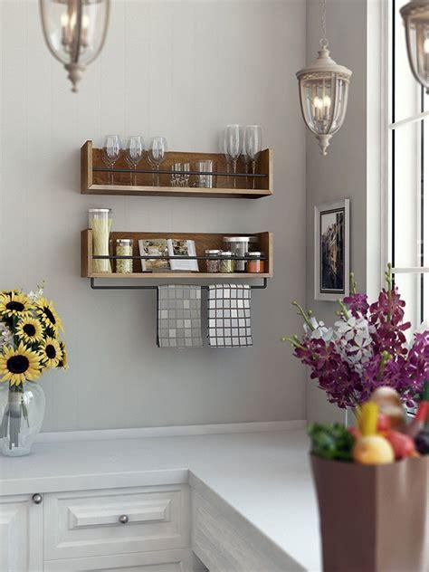 amazoncom rustic kitchen wood wall shelf  metal rail  multi       spice