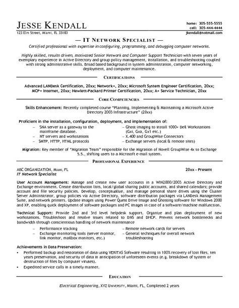 Information Technology Specialist Resume Exles by School For It Specialist Security Guards Companies