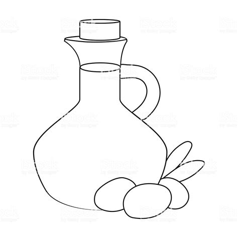 Coloring Oleo by Olive Bottle With Outline Olives Icon In Outline Style