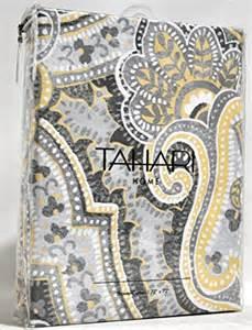 tahari luxury cotton blend shower curtain yellow gray