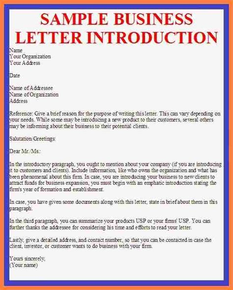 company business introduction letter sample company